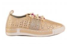 """""""Auksiniai"""" skylėti įkišami su perlamutrinėmis gėlytėmis Clibee laisvalaikio batai mergaitėms"""
