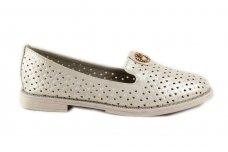 Balti-perlamutriniai skylėti įkišami laisvalaikio batai mergaitėms su sagtele priekyje 9666