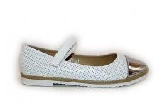 Balti sidabriniu priekiu skylėti laisvalaikio batai mergaitėms