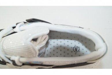 Balti-juodi suvarstomi guminiu padu moteriški sportiniai bateliai 3710 4