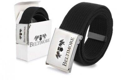 """Beltimore"" juodas ilgas tekstilinis diržas su balta sagtimi F79"