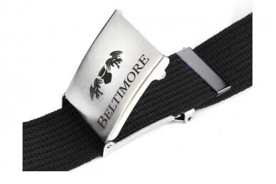 """Beltimore"" juodas ilgas tekstilinis diržas su balta sagtimi F79 3"