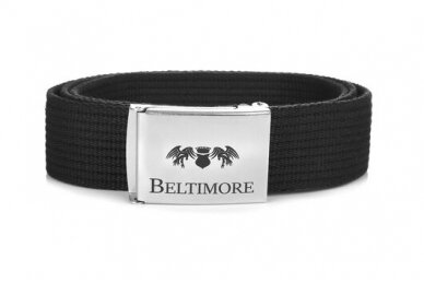 """Beltimore"" juodas ilgas tekstilinis diržas su balta sagtimi F79 2"