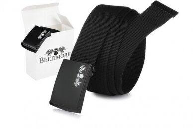 """""""Beltimore"""" juodas ilgas tekstilinis diržas su juoda sagtimi F79"""