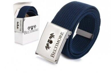 """Beltimore"" mėlynas ilgas tekstilinis diržas su balta sagtimi F79"