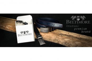 """Beltimore"" mėlynas ilgas tekstilinis diržas su balta sagtimi F79 5"