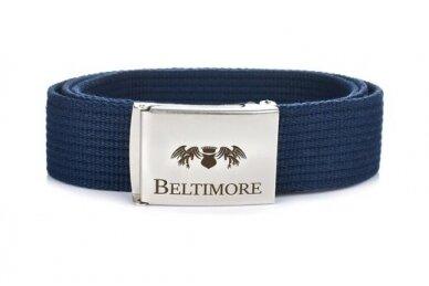 """Beltimore"" mėlynas ilgas tekstilinis diržas su balta sagtimi F79 2"