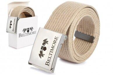 """Beltimore"" šviesus ilgas tekstilinis diržas su balta sagtimi F79"