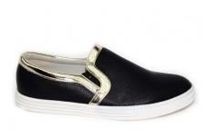 """Juodi su """"auksine"""" juostele baltu padu Clibee laisvalaikio batai mergaitėms"""