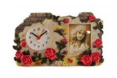 Dekoratyvinis laikrodis su žadintuvu ir rėmeliu nuotraukai