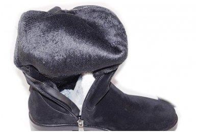 Ilgi juodi matiniai  storu padu papuošti trimis kniedėmis su pašiltinimu ir užtrauktuku šone moteriški batai 5607 5