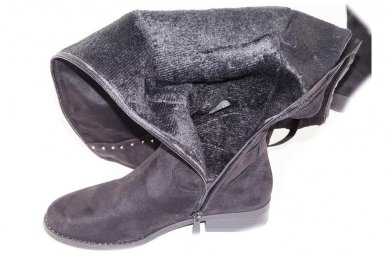 Ilgi medžiaginiai (veliūriniai) papuošti kniedėmis su pašiltinimu ir ilgu užtrauktuku šone moteriški batai 1366j 5