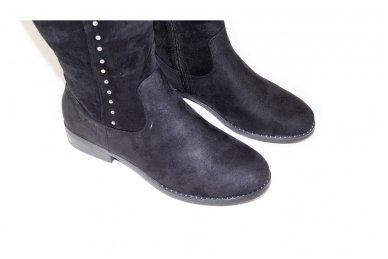 Ilgi medžiaginiai (veliūriniai) papuošti kniedėmis su pašiltinimu ir ilgu užtrauktuku šone moteriški batai 1366j 4
