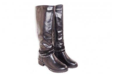 Ilgi storu padu papuošti juostelėmis su stikliniais ir metaliniais karoliukais su užtrauktuku šone moteriški batai su kailiu 6081 3