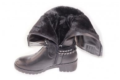 Ilgi storu padu papuošti juostelėmis su stikliniais ir metaliniais karoliukais su užtrauktuku šone moteriški batai su kailiu 6081 4