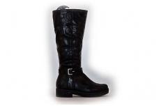 Juodi ilgi klasikiniai moteriški žieminiai batai pastorintu padu su kailiu 6623