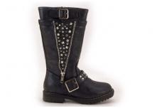 Juodi ilgi su kniedėmis sezoniniai batai mergaitėms be kailio