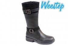 Juodi papuošti dirželiais su akutėmis Weestep žieminiai batai mergaitėms su vilnos kailiu