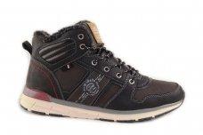 Juodi-pilkšvi suvarstomi ArrigoBelo žieminiai sportiniai batai su vilnos kailiu paaugliams