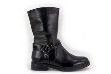 Juodi pusilgiai su dirželiais moteriški žieminiai batai su kailiu 3328