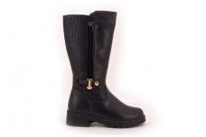 """Juodi su """"auksine"""" sagtele Clibee žieminiai batai mergaitėms su kailiu"""