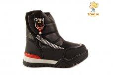 Juodi su lipuku šone Tomm sportiniai sniego batai berniukams su vilnos kailiu 7738