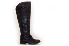 Juodi su sagtelėmis ir užtrauktuku sezoniniai ilgauliai moteriški batai