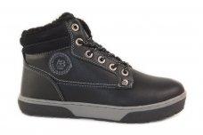 Juodi suvarstomi ArrigoBelo vaikiški žieminiai batai su vilnos kailiu 9286
