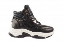 Juodi suvarstomi storu guminiu padu moteriški sportiniai laisvalaikio batai