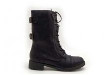 Juodi suvarstomi su užtrauktuku šone sezoniniai batai mergaitėms