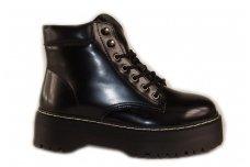 Juodi suvarstomi su užtrauktuku šone storu padu kerziniai batai su pašiltinimu 6851