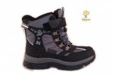Juodi suvarstyti gumyte su lipduku žieminiai sportiniai Tom.m sniego batai su kailiu berniukams