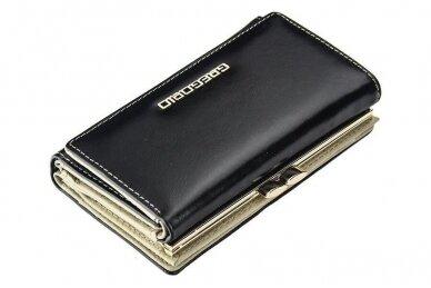 Juoda odinė GREGORIO moteriška piniginė N108 2
