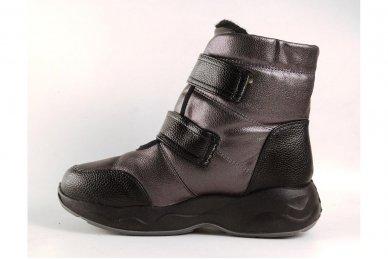 Juodai-pilkšvi užsegami lipdukais storu padu moteriški batai su kailiu 2