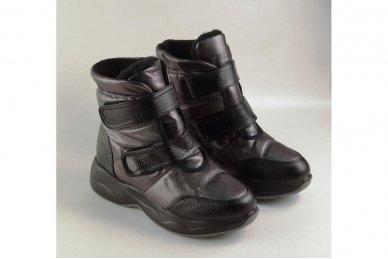 Juodai-pilkšvi užsegami lipdukais storu padu moteriški batai su kailiu 3