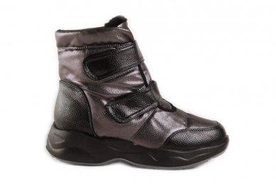 Juodai-pilkšvi užsegami lipdukais storu padu moteriški batai su kailiu