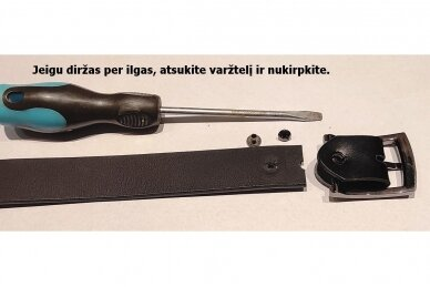 Juodas odinis 3cm pločio CezMar moteriškas diržas su sagtimi 8547 3