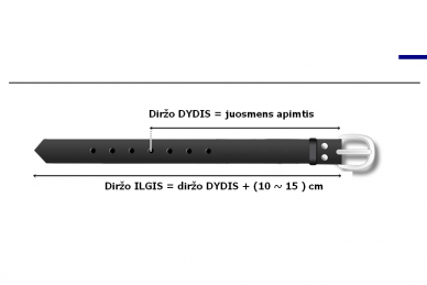 Juodas odinis 3cm pločio CezMar moteriškas diržas su sagtimi 8547 2