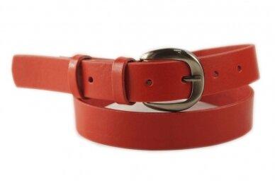 Raudonas odinis 3cm pločio CezMar moteriškas diržas su sagtimi 8549