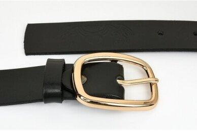 """Juodas odinis BELTIMORE moteriškas diržas su """"auksine"""" sagtimi A66 3"""