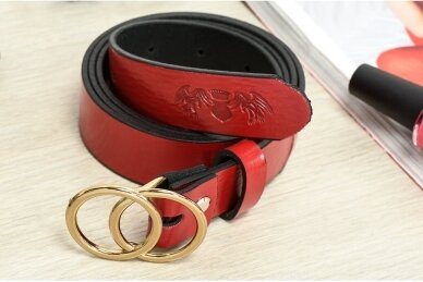 """Raudonas odinis BELTIMORE moteriškas diržas su """"auksine"""" sagtimi U61 3"""