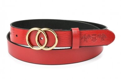 """Raudonas odinis BELTIMORE moteriškas diržas su """"auksine"""" sagtimi U61"""