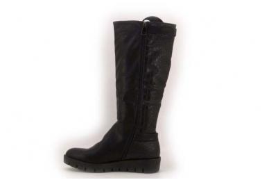 Juodi ilgi su sagtelėmis storu lygiu padu ilgi moteriški batai su kailiu 9408b 2