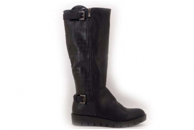 Juodi ilgi su sagtelėmis storu lygiu padu ilgi moteriški batai su kailiu 9408b