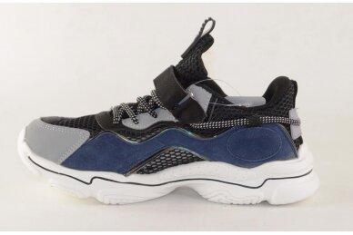 Juodi-mėlyni baltu padu suvarstyti gumyte užsegami lipuku Bessky sportiniai bateliai berniukams 8545 2