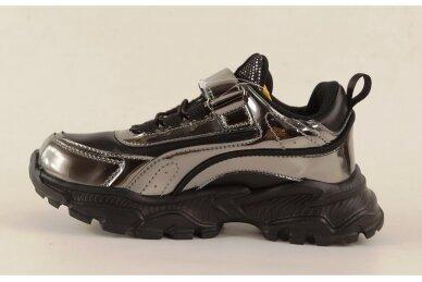 Juodi-sidabriniai su lipuku suvarstyti gumyte Clibee sportiniai bateliai mergaitėms 7258 2