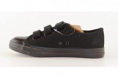 Juodi su lipdukais juodu padu tekstiliniai sportiniai bateliai 0044 2
