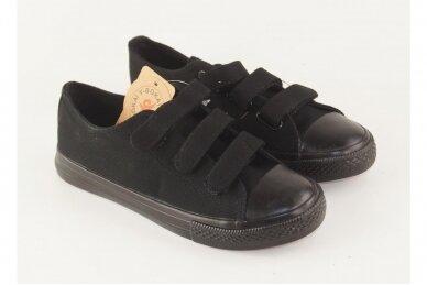 Juodi su lipdukais juodu padu tekstiliniai sportiniai bateliai 0044 3