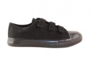 Juodi su lipdukais juodu padu tekstiliniai sportiniai bateliai 0044