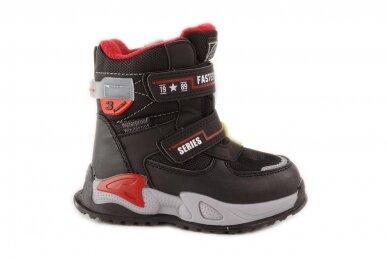 Juodi su lipdukais Tomm žieminiai batai berniukams su vilnos kailiu 9408 2